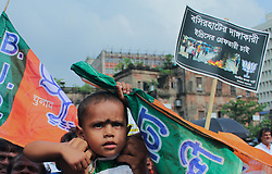 July 8, 2017 - Kolkata, West Bengal, India - The active workers and supporters of Bharatiya Janata Party or BJP organised a protest march in Kolkata against West Bengal Government and recent communal violence at Baduria of North 24 Parganas in West Bengal. (Credit Image: © Sanjay Purkait/Pacific Press via ZUMA Wire)