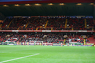 a view of the Small attendance at The Valley Stadium during the 2nd half. Skybet football league championship match, Charlton Athletic v Nottingham Forest at The Valley  in London on Saturday 2nd January 2016.<br /> pic by John Patrick Fletcher, Andrew Orchard sports photography.