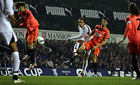 Photo: Paul Thomas.<br /> Tottenham Hotspur v Sevilla. UEFA Cup. Quarter Final, 2nd Leg. 12/04/2007.<br /> <br /> Spur Dimitar Berbatov (White) shoots, but hits the side post.