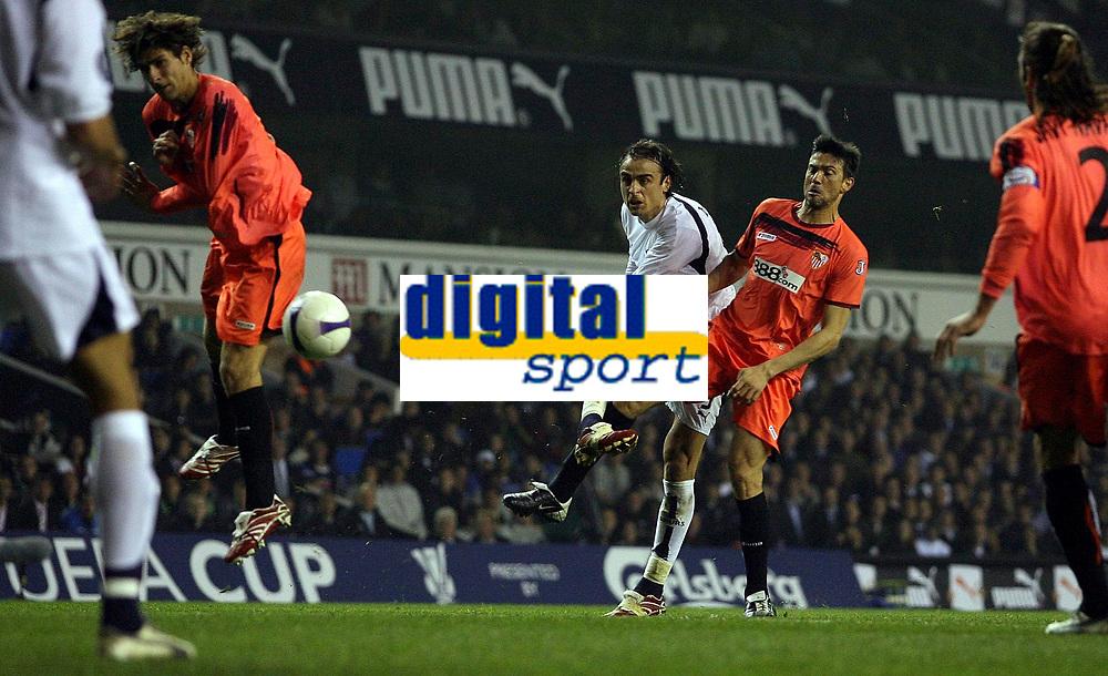 Photo: Paul Thomas.<br /> Tottenham Hotspur v Sevilla. UEFA Cup. Quarter Final, 2nd Leg. 12/04/2007.<br /> <br /> Spur Dimitar Berbatov (White) shoots, but hits the side post.