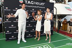 Tom Brady, Geri Halliwell Horner and model Bella Hadid attend the TAG Heuer event during the Formula 1 Grand Prix de Monaco on May 26, 2018 in Monaco, Monaco. Photo by Laurent Zabulon/ABACAPRESS.COM