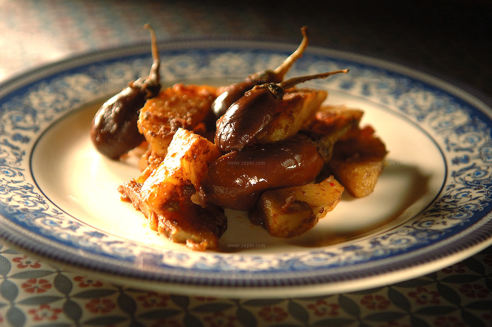Baingan Aloo - Potatoes and Eggplant (Recipe available upon request)