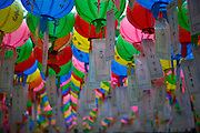 "Seoul/South Korea, Republic of Korea, KOR, 24.04.2009: In Korea the birthday of Buddha is celebrated according to the Lunisolar calendar. This day is called ""Seokga tansinil"", meaning ""the day of Buddha's birthday"". Lotus lanterns cover the entire temples throughout the month. Visitors can buy a paper, write a wish to that paper and fix it with their name to a lantern."