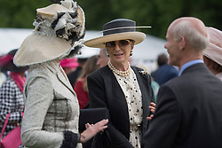 Princess Michael of Kent talks to guests during a garden party at Buckingham Palace in London.