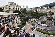 May 23-27, 2018: Monaco Grand Prix.  Start of the 76th Monaco Grand Prix from the Fairmont hairpin, Sergio Perez (MEX), Sahara Force India, VJM11, Nico Hulkenberg (GER), Renault Sport Formula One Team, R.S.18, Carlos Sainz Jr. (SPA) Renault Sport Formula One Team, R.S. 18, Pierre Gasly, Scuderia Toro Rosso Honda, STR13