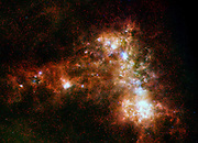 This image shows the Small Magellanic Cloud galaxy in infrared light from the Herschel Space Observatory.