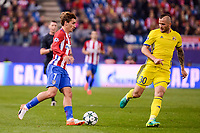 Atletico de Madrid's player Antoine Griezmann and CF Rostov's player Fedor Kudryashov during a match of UEFA Champions League at Vicente Calderon Stadium in Madrid. November 01, Spain. 2016. (ALTERPHOTOS/BorjaB.Hojas)