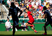 """Twickenham, Surrey United Kingdom. Mike FUAILEFAU, running in for a try during the 3/4 Playoff game USA vs Canada at the """"2017 HSBC London Rugby Sevens"""",  Sunday 21/05/2017 RFU. Twickenham Stadium, England    <br /> <br /> [Mandatory Credit Peter SPURRIER/Intersport Images]"""