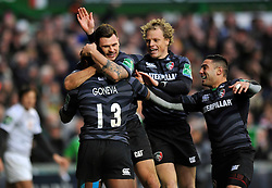 Leicester Tigers players congratulate Vereniki Goneva on his try - Photo mandatory by-line: Patrick Khachfe/JMP - Tel: Mobile: 07966 386802 08/12/2013 - SPORT - RUGBY UNION -  Welford Road, Leicester - Leicester Tigers v Montpellier - Heineken Cup.