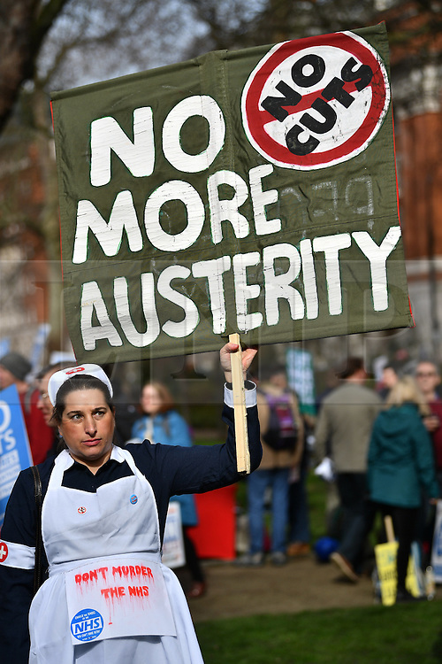 © Licensed to London News Pictures. 04/03/2017. London, UK. Thousand of people take part in a demonstration organised by People's Assembly Against Austerity, calling for For a fully funded, publicly owned, NHS and social care service. Labour leader Jeremy Corbyn and Unite general secretary Len McCluskey are expected to speak at the London event, with similar marches taking place across the UK. Photo credit: Ben Cawthra/LNP
