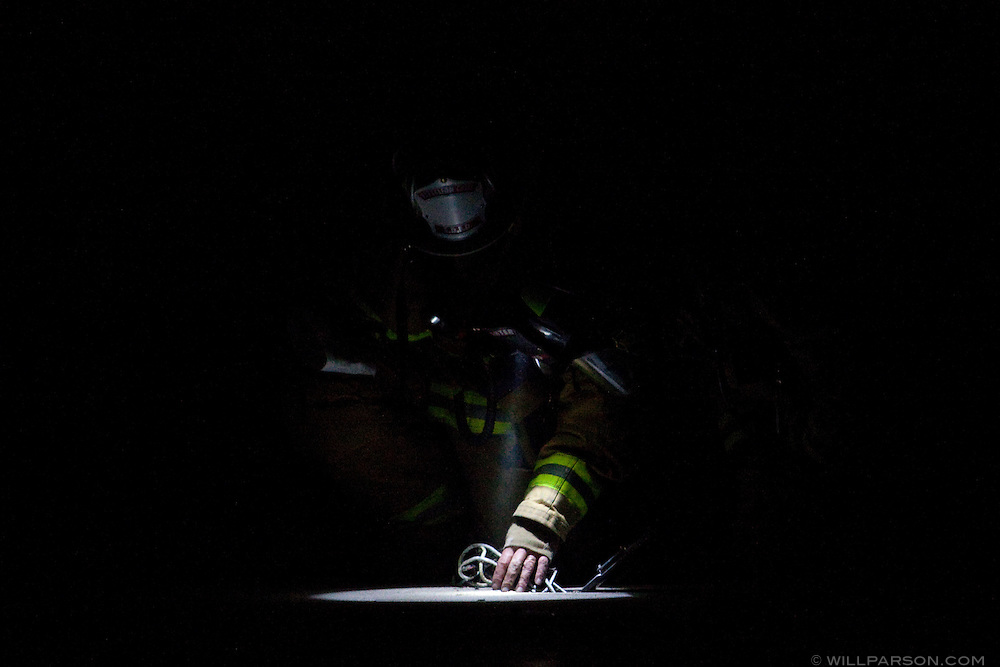 A fire in the basement of the Bang and Olufsen store on Girard Avenue in La Jolla prompted a response by at least twelve fire engines the evening of March 29, 2010. Fire fighters used a powered saw to cut a vent hole in the floor of the building.