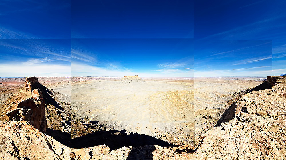 View of Factory Butte from the rim of North Caineville Mesa, Utah.