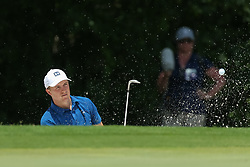 May 25, 2018 - Forth Worth, TX, U.S. - FORT WORTH, TX - MAY 25:  Jordan Spieth of the United States hits from the green side bunker on #5 during the second round of the Fort Worth Invitational on May 25, 2018 at Colonial Country Club in Fort Worth, TX. (Photo by Andrew Dieb/Icon Sportswire) (Credit Image: © Andrew Dieb/Icon SMI via ZUMA Press)