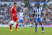Brighton winger, Elvis Manu on the ball during the Sky Bet Championship match between Brighton and Hove Albion and Cardiff City at the American Express Community Stadium, Brighton and Hove, England on 3 October 2015. Photo by Phil Duncan.