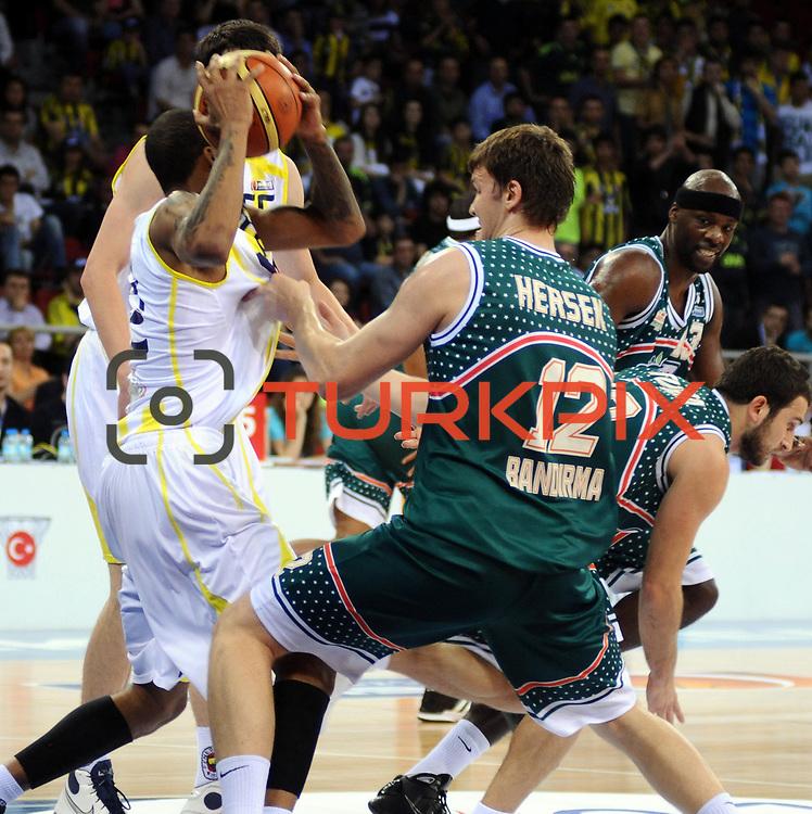 Banvit's Baris HERSEK (C) during their Turkish Basketball league semi final second leg match Fenerbahce Ulker between Banvit at Abdi Ipekci Arena in Istanbul, Turkey, Wednesday, May 12, 2010. Photo by TURKPIX