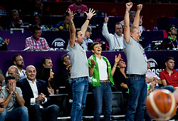 Pavel Vrabec, CEO of Pop TV, Gregor Griljc, Vice President at Basketball Federation of Slovenia - KZS, Maja Makovec Brencic, Slovenian Minister of Education and Sport and Matej Erjavec, president of KZS celebrate during basketball match between National Teams of Slovenia and Spain at Day 15 in Semifinal of the FIBA EuroBasket 2017 at Sinan Erdem Dome in Istanbul, Turkey on September 14, 2017. Photo by Vid Ponikvar / Sportida