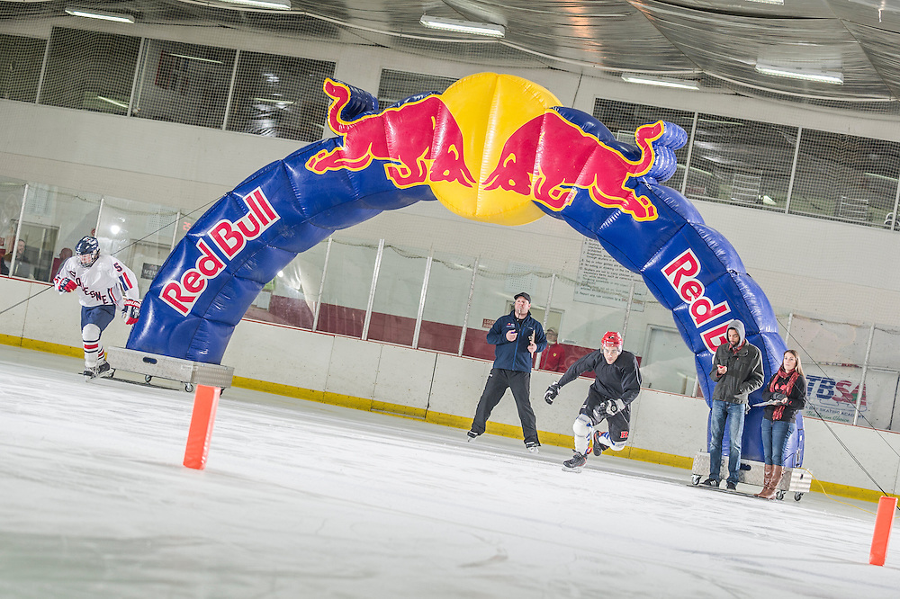 Particpant (L) and Jack Schram (R) launch from the starting line at Red Bull Crashed Ice at the Tampa Bay Skating Academy in Tampa Bay, FL, USA on 4  January 2014.