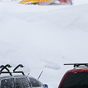 A snow cat sits twenty feet about the parking lot of Heather Meadows a Mount Baker Ski Area.