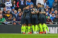 GOAL 1-0. Manchester City forward Gabriel Jesus (33) celebrates with teammates after scoring a goal during the The FA Cup semi-final match between Manchester City and Brighton and Hove Albion at Wembley Stadium, London, England on 6 April 2019.