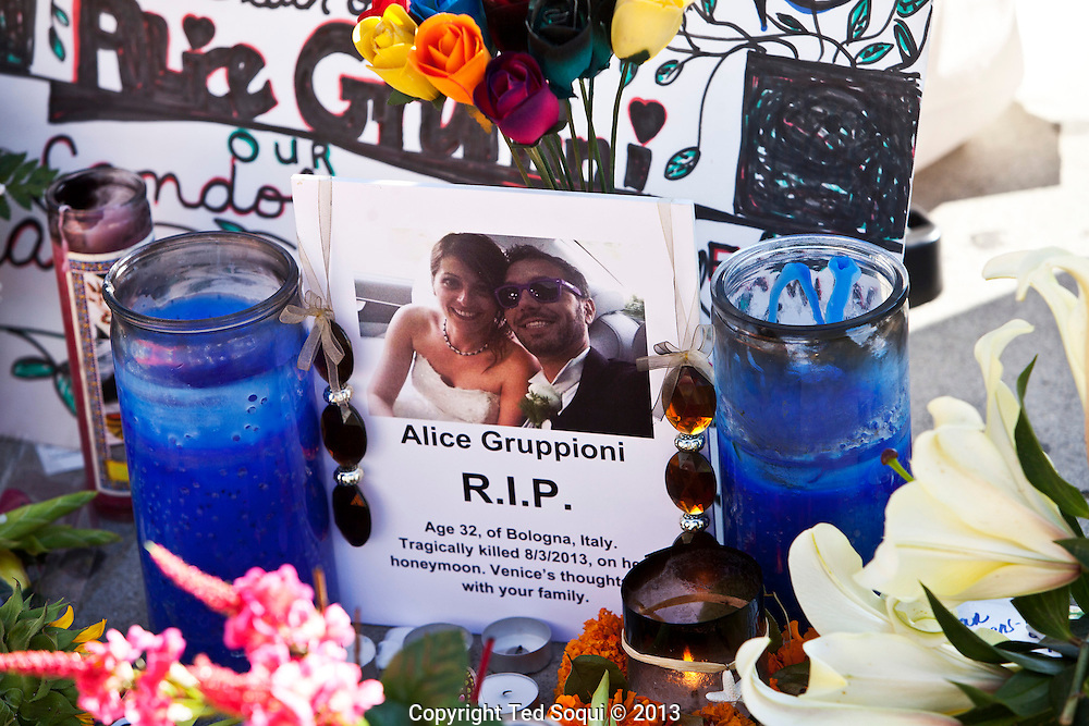 A memorial was held for Alice Gruppioni, who was visiting Venice on her honeymoon and was killed by a deranged driver on the Venice Beach boardwalk. <br /> The driver turned himself in to police and is being held on $1 Million dollars bail. He hit 40 people with his car and injured over 11 seriously.