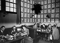 1950 Businessmen having lunch at the Brown Derby on Vine Street in Hollywood