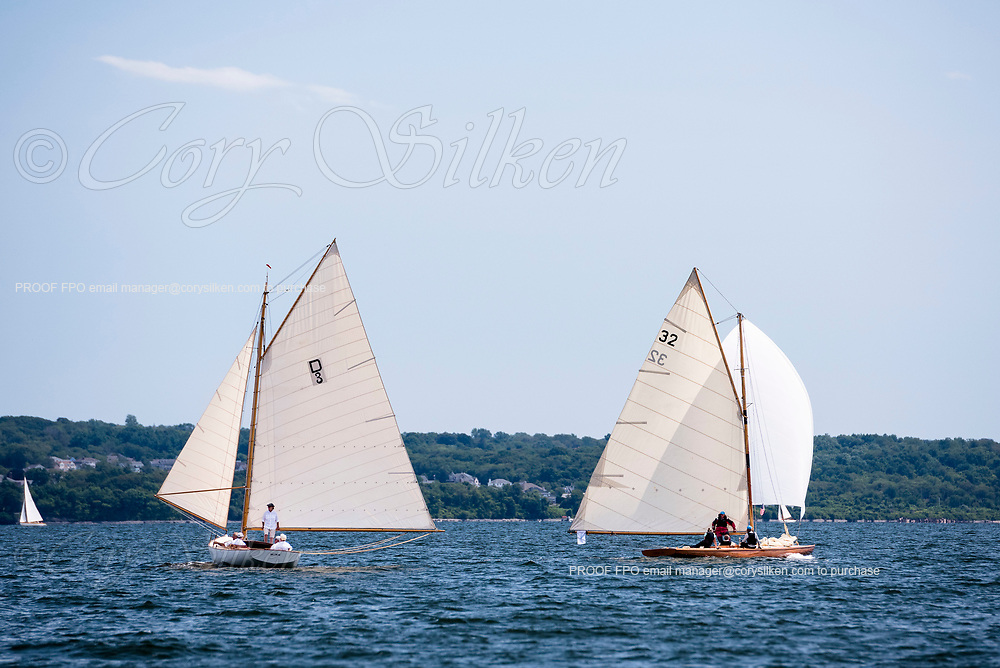 Mink and Tilly XV sailing at the Herreshoff Classic Yacht Regatta.
