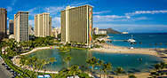 Aerial view of Hilton Hawaiian Village, Waikiki Beach, Honolulu, Oahu, Hawaii