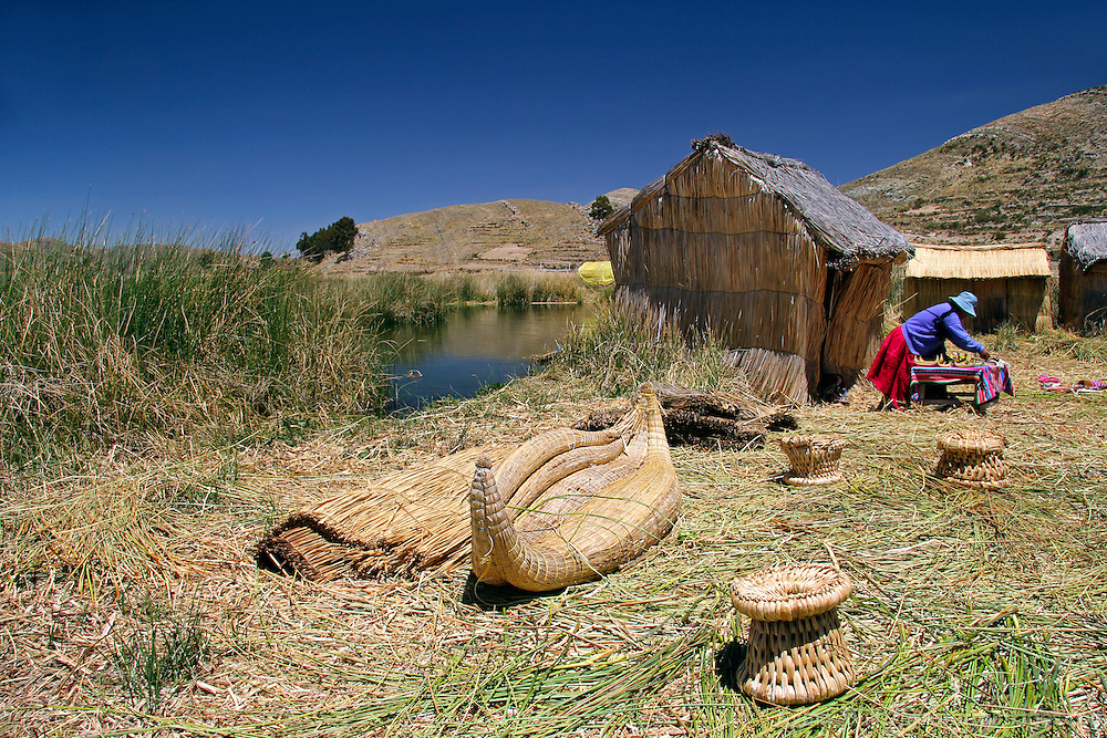 South America, Bolivia, Lake Titicaca. Floating reed islands of Lake Titicaca.