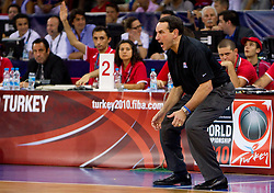 Head coach of USA Mike Krzyzewski during the Preliminary Round - Group B basketball match between National teams of USA and Brasil at 2010 FIBA World Championships on August 30, 2010 at Abdi Ipekci Arena in Istanbul, Turkey. (Photo By Vid Ponikvar / Sportida.com)