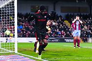 Josh Maja of Sunderland (20) scores a goal and celebrates to make the score 1-0 during the EFL Sky Bet League 1 match between Scunthorpe United and Sunderland at Glanford Park, Scunthorpe, England on 19 January 2019.