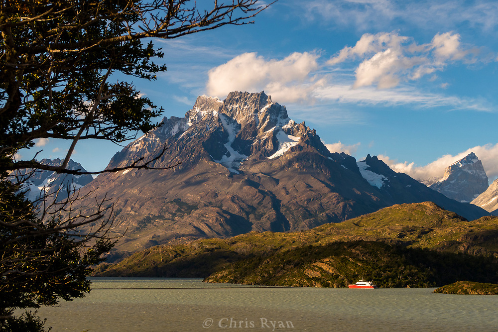 Passenger ferry on Lago Grey, view to Cerro Paine Grande, Patagonia