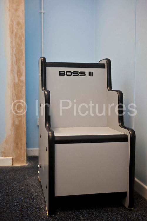 A special body cavity scanner (boss chair)  for checking prisoners for contraband. HM Prison Styal is a Closed Category prison for female adults and young offenders, located in the village of Styal (near Wilmslow) in Cheshire, England. The prison is operated by Her Majesty's Prison Service. Styal is a Closed Category prison for sentenced and remanded female adults and young offenders. There are also facilities for mothers with babies up to age 18 months. The education provision at Styal is contracted out to The Manchester College. Courses offered include hairdressing, information technology, art and design, ESOL, catering, industrial cleaning, painting & decorating, and Open University support.