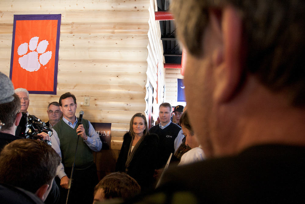Rick Santorum receives a question from the audience during a campaign stop in the upstate of South Carolina.