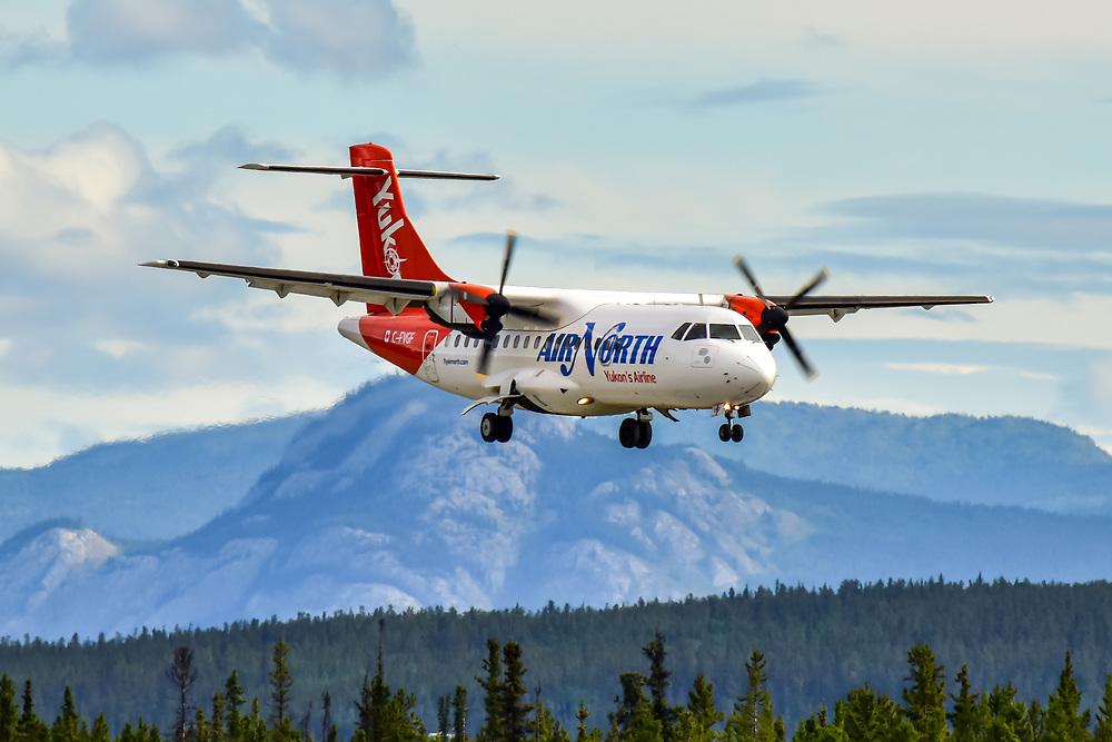 Air North's ATR 42 C-FVGF on final approach on a Yukon summer day