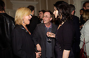 Maria Mceralne, Jon ronson and Nigella Lawson, Book launch of Truth or Dare,  edited by Justine Picardie. House of St. Barnabus. Sales of the book at the launch went towards Breast  Cancer  Care. Greek St. London. 30 September 2004. SUPPLIED FOR ONE-TIME USE ONLY-DO NOT ARCHIVE. © Copyright Photograph by Dafydd Jones 66 Stockwell Park Rd. London SW9 0DA Tel 020 7733 0108 www.dafjones.com