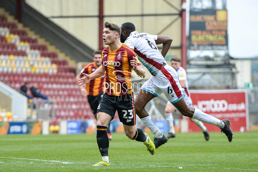 Connor Wood during the EFL Sky Bet League 2 match between Bradford City and Scunthorpe United at the Utilita Energy Stadium, Bradford, England on 1 May 2021.