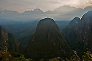 Mountain in front of Machu Picchu. In Cusco, southern Andes, Peru.