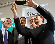 17/05/2019 repro Free:  MEP Candidate Maria Walsh got a big push from party leader and Taoiseach Leo Varadkar in Galway as the team canvassed the town and visited the Portershed  which celebrated it's third Birthday.Conor O'Dowd,  Maurice O'Gorman and David Cunningham from the Portershed Photo:Andrew Downes, Xposure