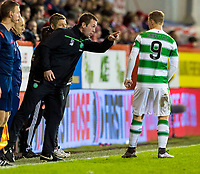03/02/16 LADBROKES PREMIERSHIP<br /> ABERDEEN v CELTIC<br /> PITTODRIE - ABERDEEN<br /> Celtic manager Ronny Deila (left) with Leigh Griffiths