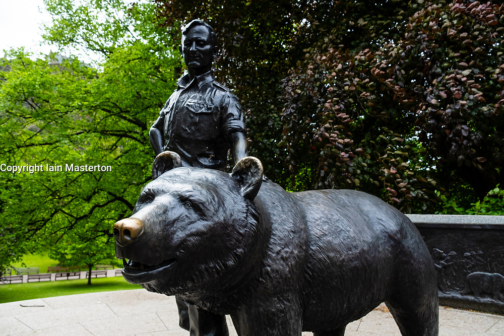 Statue of Wojtek the Soldier Bear in Princes Street Gardens, Edinburgh, Scotland, UK