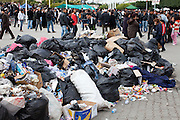 Tunis, Tunisia. January 26th 2011.Part of the trash on the Kasbah Square.....