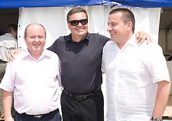 Izet Rastoder, Mayor of Ljubljana Zoran Jankovic and Joc Pececnik at open door day 1 year before opening of new football stadium and sports hall in Stozice,  on June 30, 2009, at Stadium Stozice, Ljubljana, Slovenia. (Photo by Vid Ponikvar / Sportida)