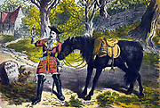 Dick Turpin (1706-1739) English robber and highwayman. Subject of many romantic stories especially that of his ride to York on his mare Black Bess. Here he is giving the exhausted horse a potion to revive her.  19th century colour-printed wood engraving.
