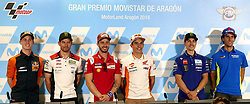 September 20, 2018 - Alcaniz, Teruel, Spain - Pol Espargaro (44) of Spain and Red Bull KTM Factory Racing KTM , Cal Crutchlow (35) of England and LCR Honda Castrol, Andrea Dovizioso (4) of Italy and Ducati Team, Marc Marquez (93) of Spain and Repsol Honda Team, Maverick Vinales (25) of Spain and Movistar Yamaha MotoGP, Alex Rins (42) of Spain and Team Suzuki Ecstar in the press conference before of the Gran Premio Movistar de Aragon of world championship of MotoGP at Circuit of Motorland Aragon in Alcaiz, Spain, 20th Sep 2018  (Credit Image: © Jose Breton/NurPhoto/ZUMA Press)