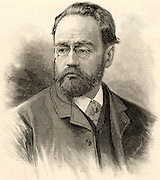 Emile Zola (1840-1902) French journalist and novelist of the Naturalistic school. Engraving published in 1893 when he was invited to give a paper to the conference of the Institute of Journalists in London.  The title of the paper he gave was 'L'Anonymat dans la Presse' (Anonymity in Journalism). Engraving.