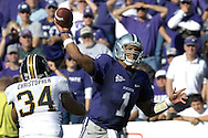 MANHATTAN, KS - NOVEMBER 17:  Quarterback Josh Freeman #1 of the Kansas State Wildcats throws down field against pressure from linebacker Brock Christopher #34 of the Missouri Tigers on November 17, 2007 at Bill Snyder Stadium in Manhattan, Kansas.  Missouri won the game 49-32.  (Photo by Peter Aiken/Getty Images)
