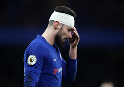 Chelsea's Olivier Giroud with a bandaged head during the Premier League match at Stamford Bridge, London.
