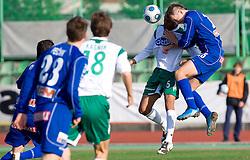 Leonardo Bonifacio of Olimpija vs Aljosa Fekonja of Drava at 18th Round of PrvaLiga football match between NK Olimpija and NK Labod Drava, on November 21, 2009, in ZAK, Ljubljana, Slovenia. Olimpija defeated Drava 3:0. (Photo by Vid Ponikvar / Sportida)