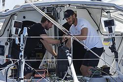 Pierre Casiraghi and the german skipper Boris Herrmann with Malizia sale during the Rolex Giraglia 2019 regatta from Saint Tropez to Giraglia Cape in Corsica and back to Monaco. Saint Tropez Bay (France) on june 12th, 2019. Photo by Marco Piovanotto/ABACAPRESS.COM