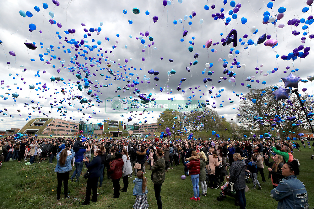 People release balloons outside Alder Hey Children's Hospital in Liverpool, following the death on Saturday morning of 23-month-old Alfie Evans, who was being treated at the hospital.